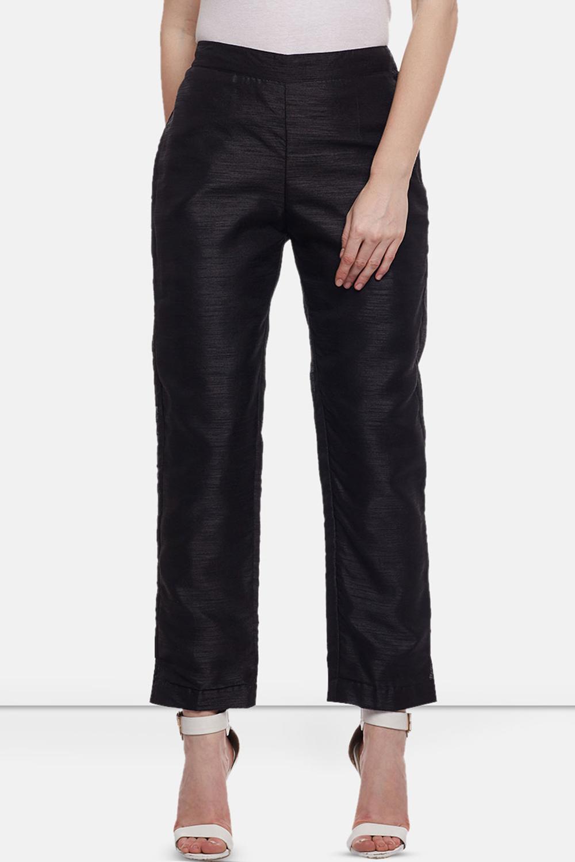0c21f3fcb28cca Castle Black Raw Silk Pencil Pants - Buy Castle Black Raw Silk ...