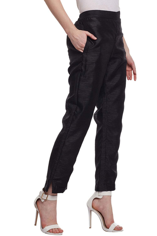 165e6063114e96 Castle Black Raw Silk Pencil Pants - Buy Castle Black Raw Silk Pencil Pants  Online @ Best Price in India | dorbby.com