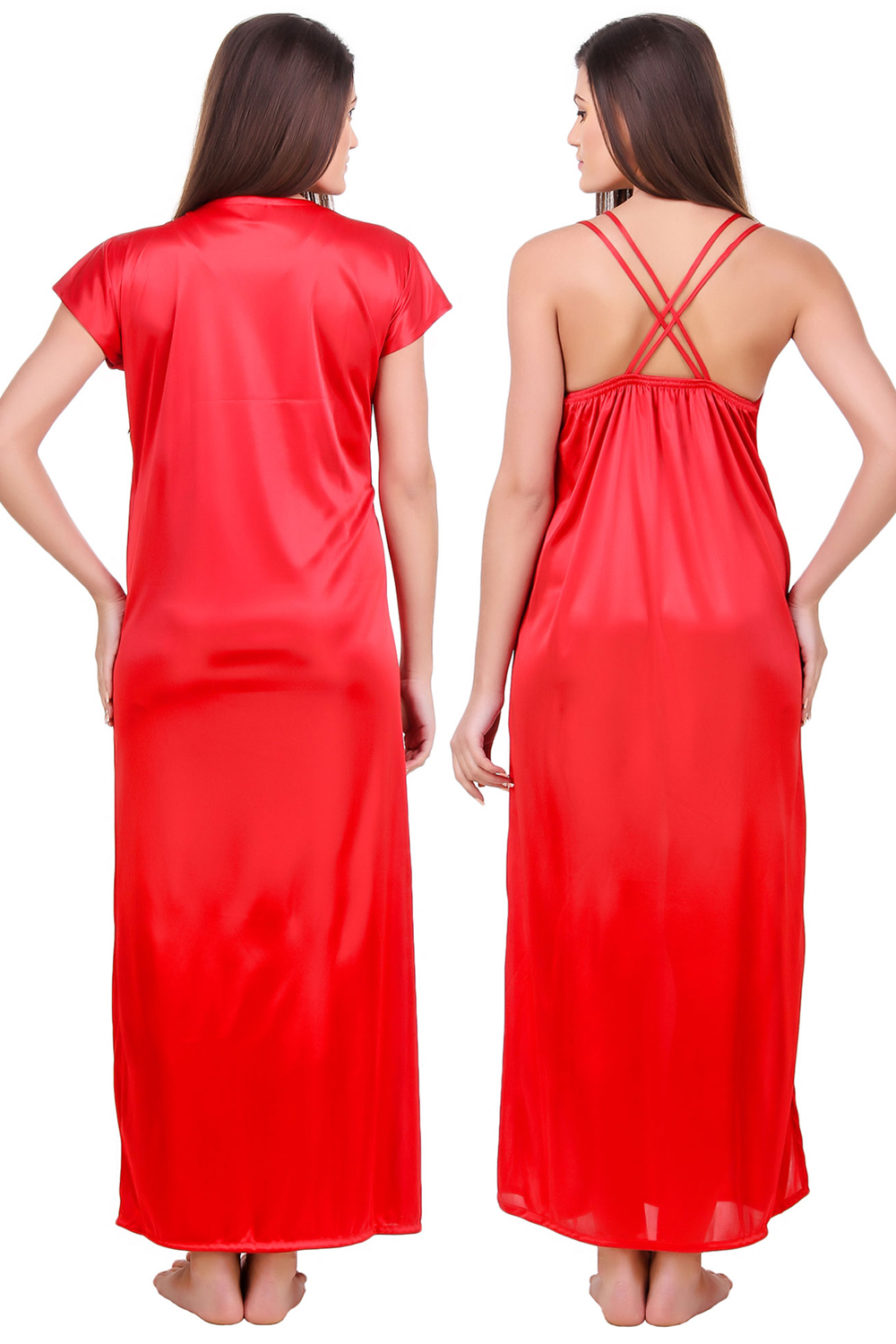 c7bd0133ca Fasense Satin Red Nightwear 2 Pc Set of Nighty and Wrap Gown - Buy Fasense  Satin Red Nightwear 2 Pc Set of Nighty and Wrap Gown Online   Best Price in  India ...