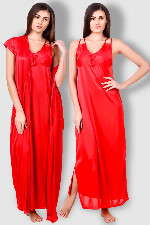 a6bda5dd2ca Fasense Satin Red Nightwear 2 Pc Set of Nighty and Wrap Gown - Buy ...