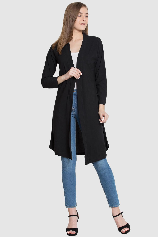 Style Gravity BLACK Polyester Long Shrug