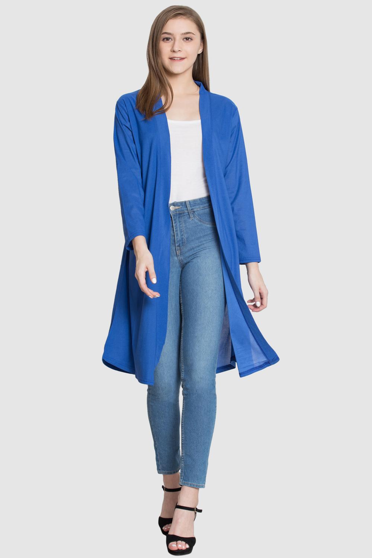 Style Gravity BLUE Polyester Long Shrug