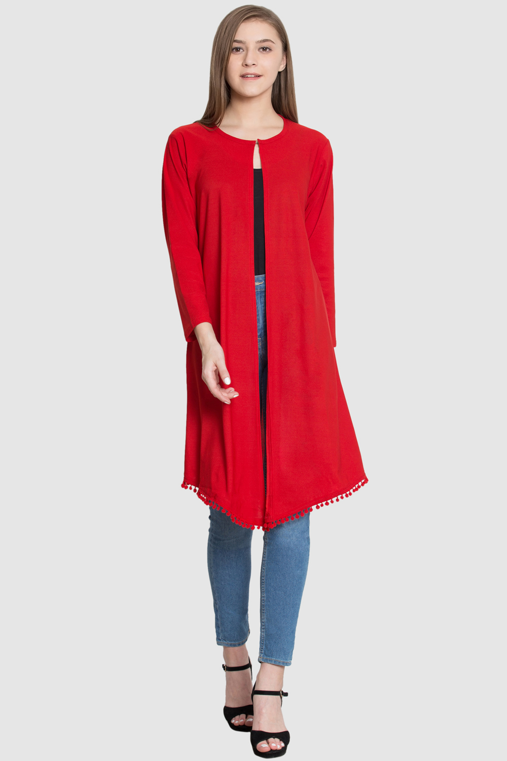 Style Gravity RED Polyester Long Shrug