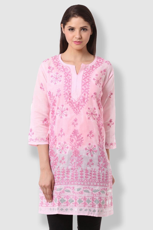 SAADGI Chikankari Embroidered Pink Kurti