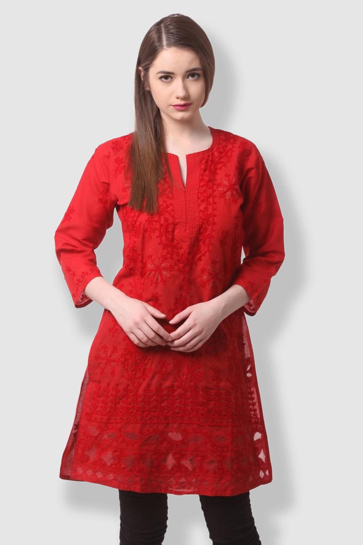 SAADGI Chikankari Embroidered Red Kurti