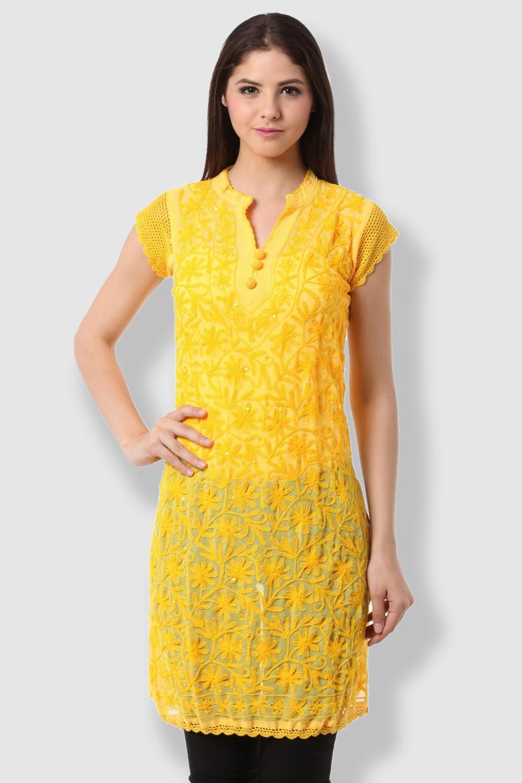 SAADGI Chikankari Embroidered Yellow Kurti