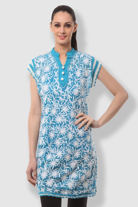 SAADGI Chikankari Embroidered Blue Kurti