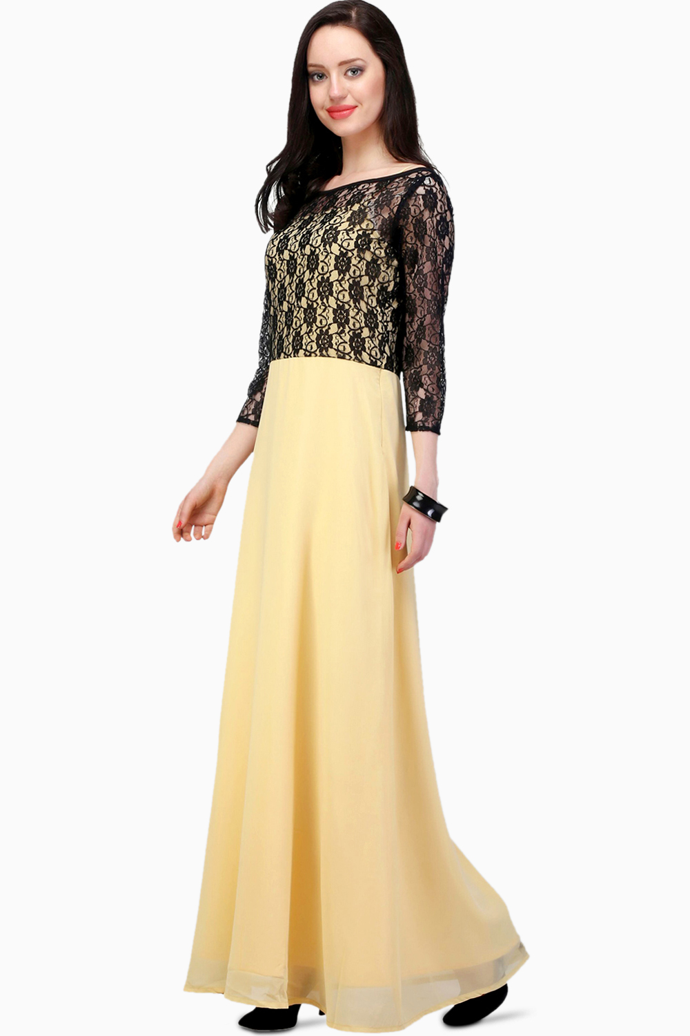 d98ce3101ca2 Jha Fashion Light Yellow And Black Lace Maxi Dress - Buy Jha Fashion ...