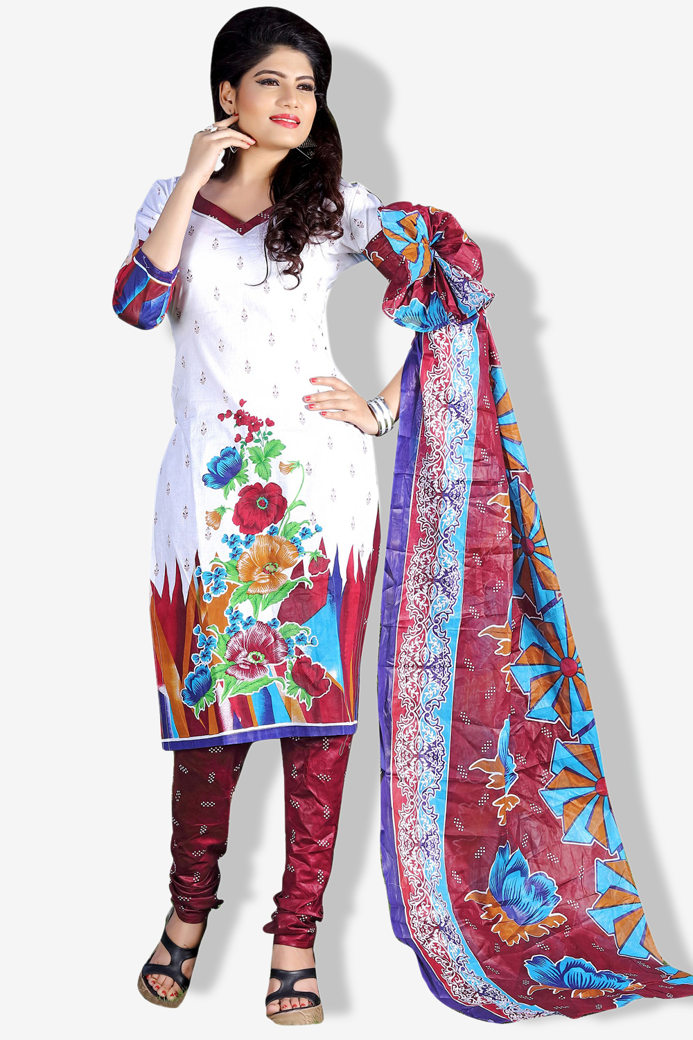 MINU and MANINI Semi stitched Cotton White Color Printed Ethnic Wear Suit