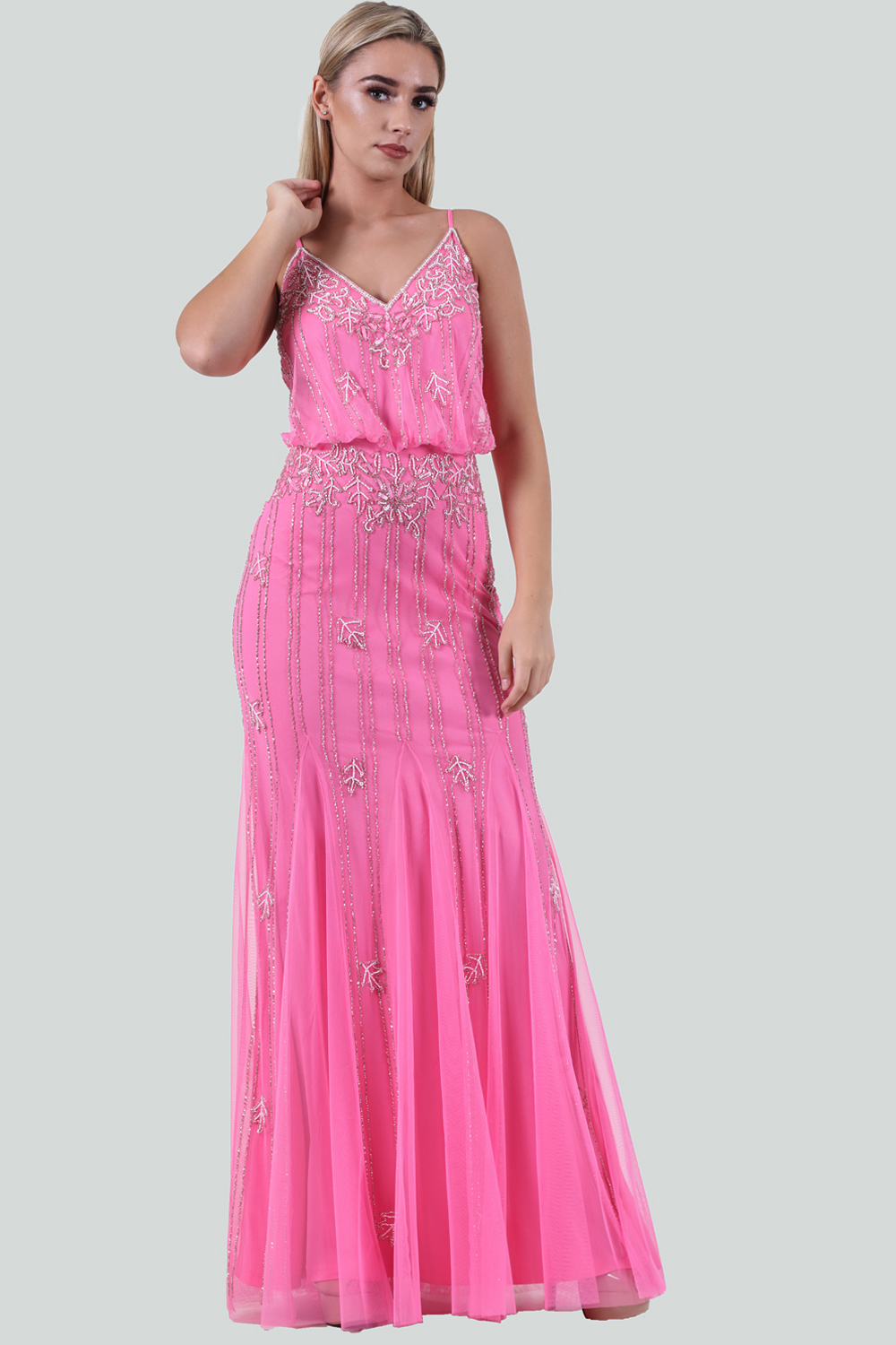 a6a4c432706fc Lace & Beads Pink Polyester Keeva Maxi Dress - Buy Lace & Beads Pink ...