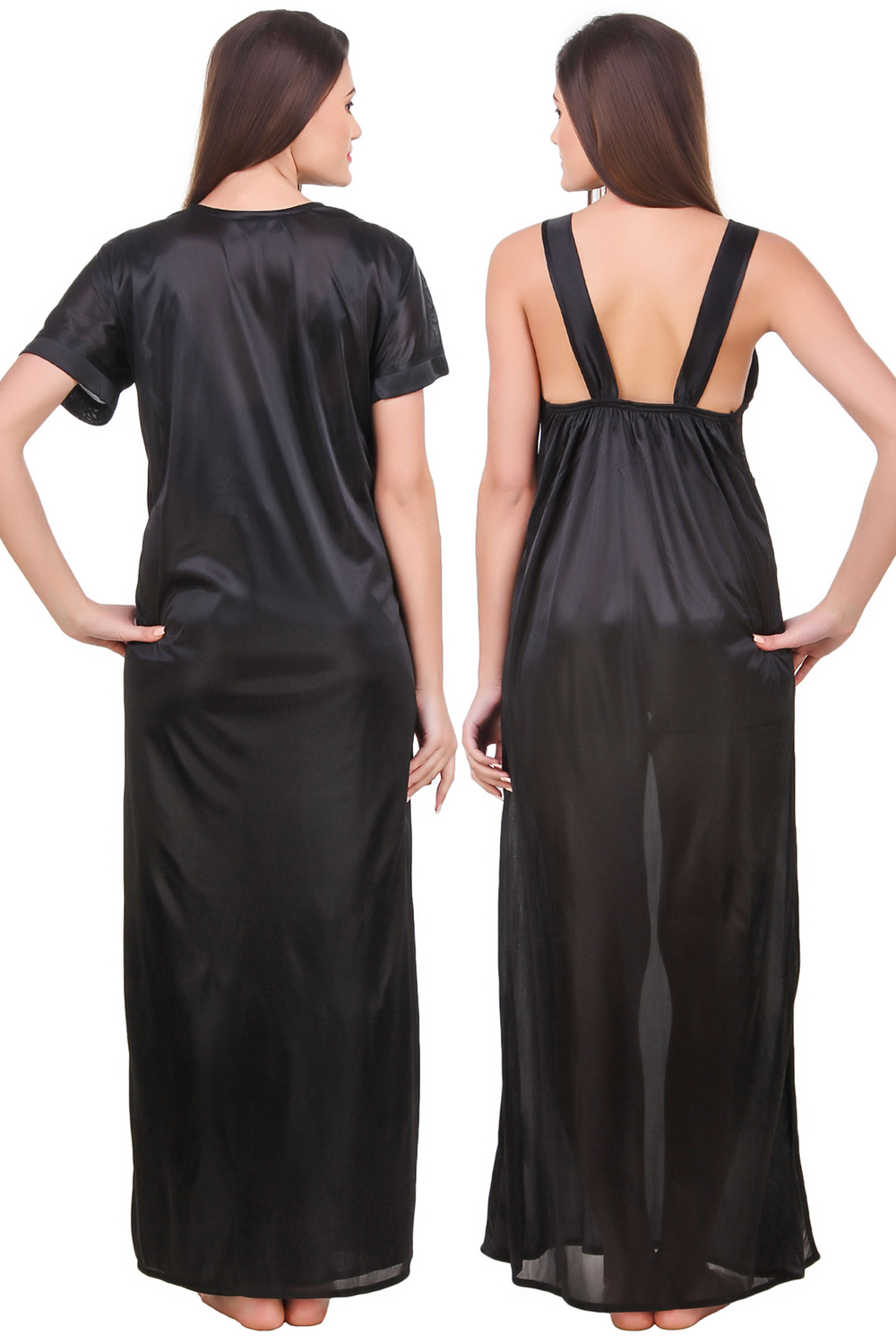 a1e00eeb0a5ba Fasense Satin Black Nightwear 2 Pc Set of Nighty and Wrap Gown - Buy  Fasense Satin Black Nightwear 2 Pc Set of Nighty and Wrap Gown Online @  Best Price in ...