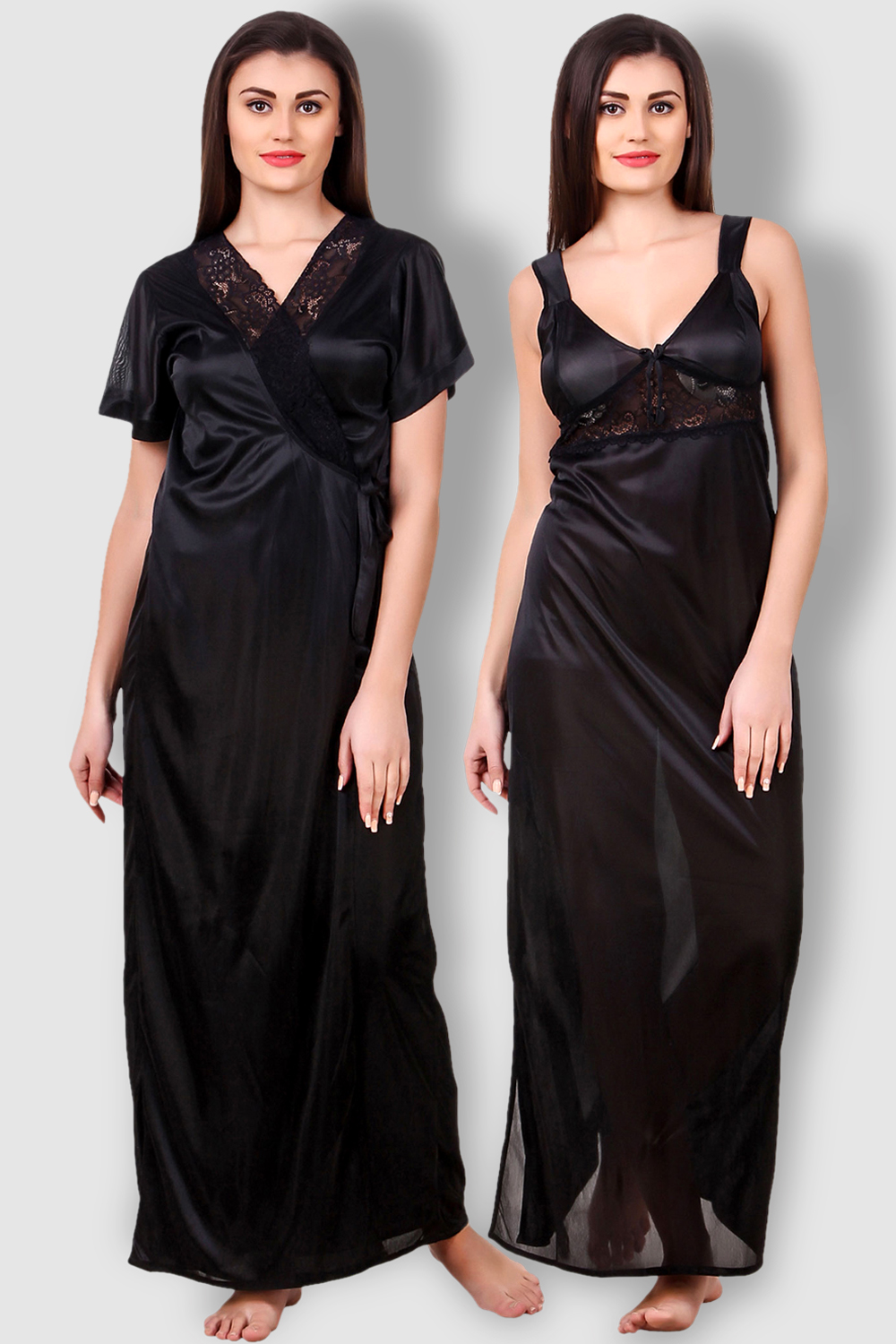 95396407a34 Fasense Satin Black Nightwear 2 Pc Set of Nighty and Wrap Gown - Buy ...