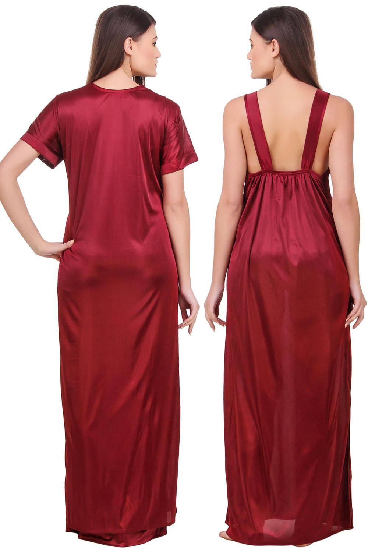 1c41b62ff1 Fasense Satin Maroon Nightwear 2 Pc Set of Nighty and Wrap Gown - Buy Fasense  Satin Maroon Nightwear 2 Pc Set of Nighty and Wrap Gown Online   Best Price  in ...