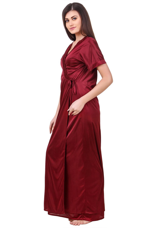 da2e34dd20 Fasense Satin Maroon Nightwear 2 Pc Set of Nighty and Wrap Gown - Buy  Fasense Satin Maroon Nightwear 2 Pc Set of Nighty and Wrap Gown Online    Best Price in ...