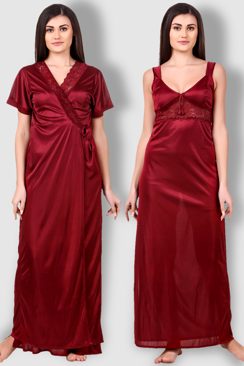 0e58cc4ec0 Fasense Satin Maroon Nightwear 2 Pc Set of Nighty and Wrap Gown ...