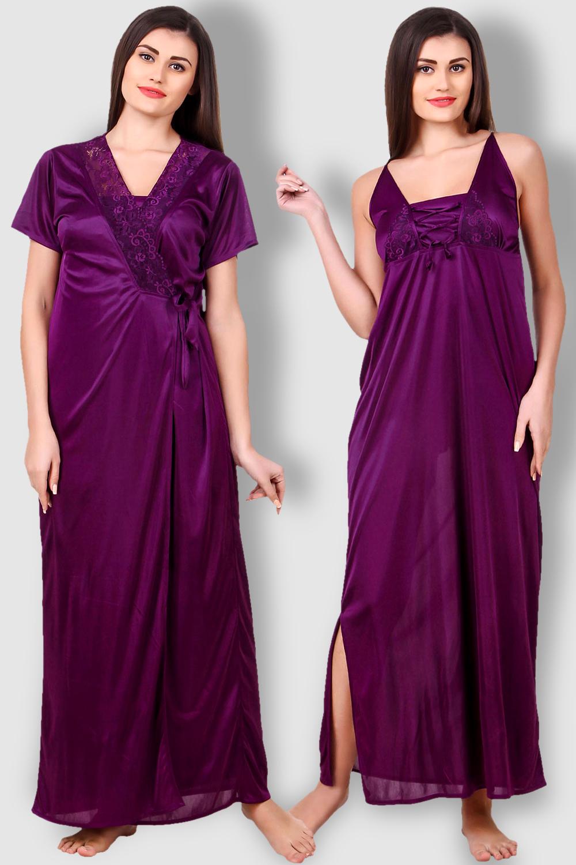 714ca93b0d37 Fasense Satin Purple Nightwear 2 Pc Set of Nighty and Wrap Gown ...