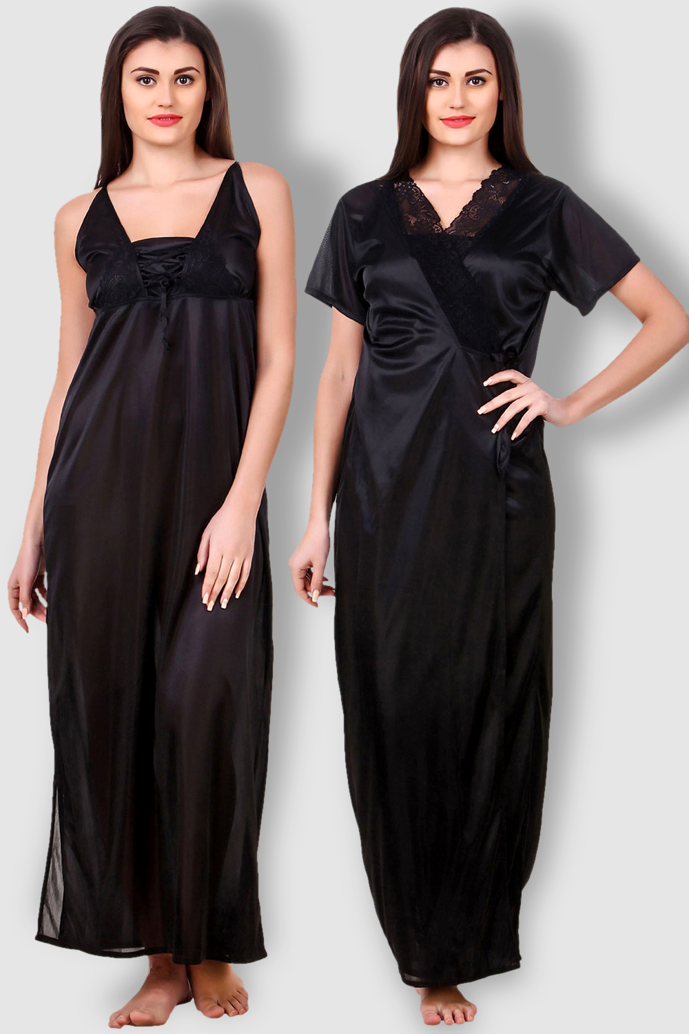 Fasense Satin Black Nightwear 2 Pc Set of Nighty and Wrap Gown - Buy ... 54982e4a1