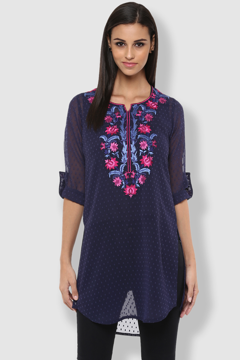 Ruhaani Tunics Blue Solid Georgette