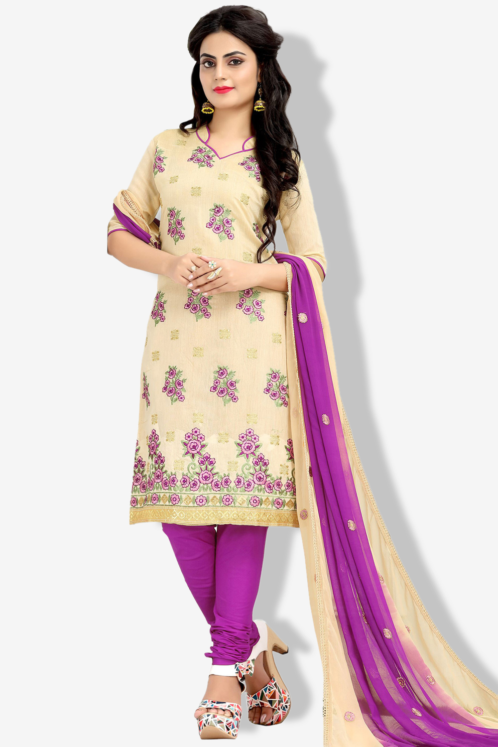 MINU and MANINI Semi stitched Cotton Cream Color Embroidered Ethnic Wear Suit