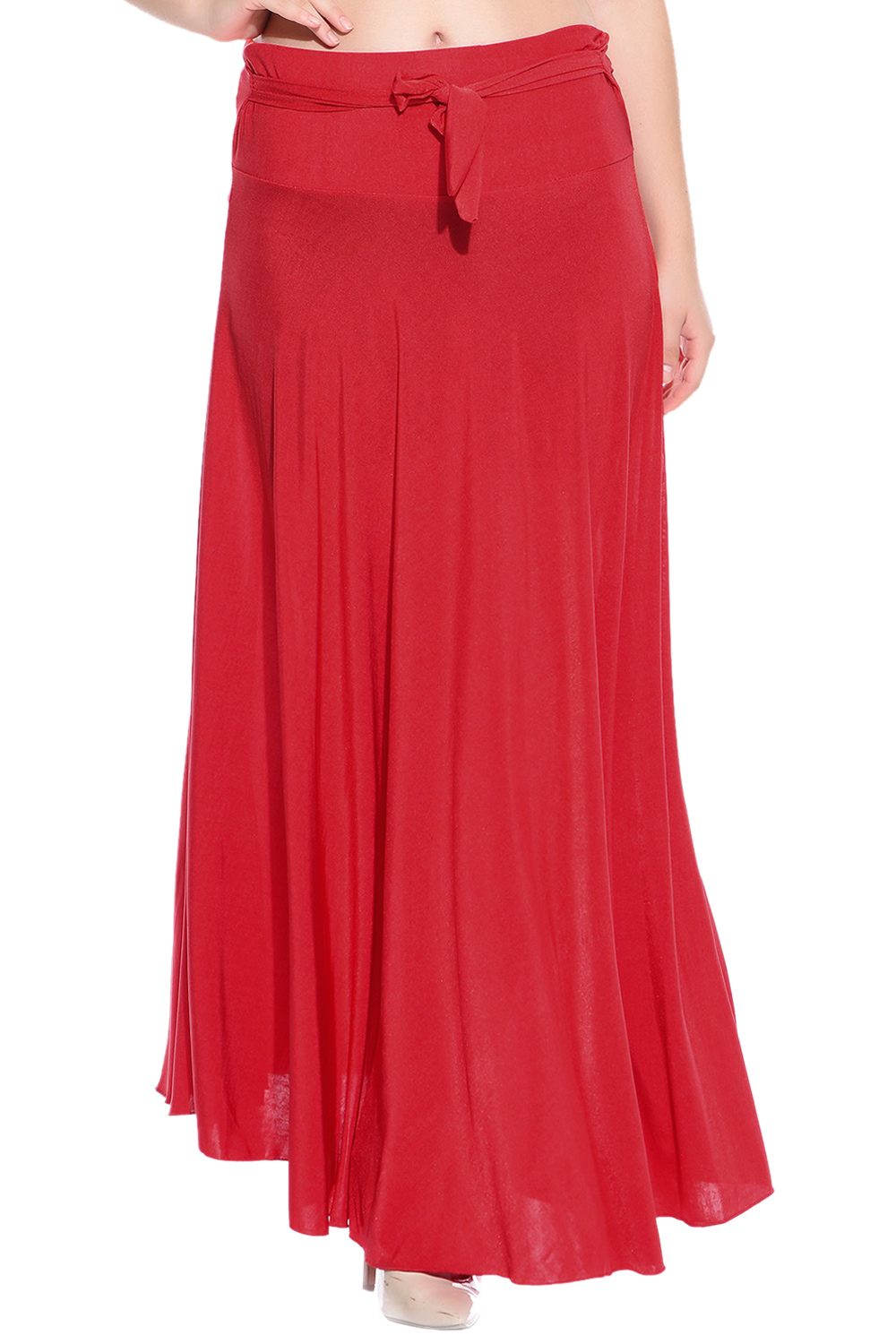 Style Gravity Red Crepe Skirt
