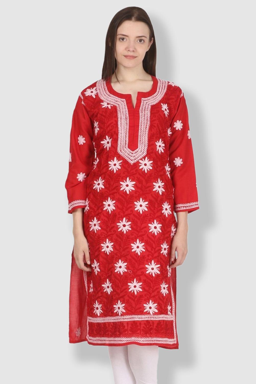 SAADGI Red Embroidered Kurti
