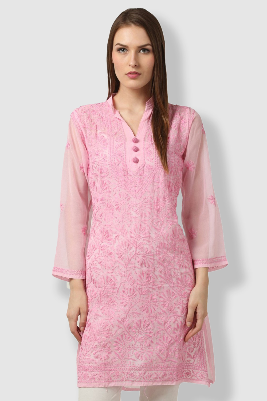 SAADGI Pink Embroidered Kurti