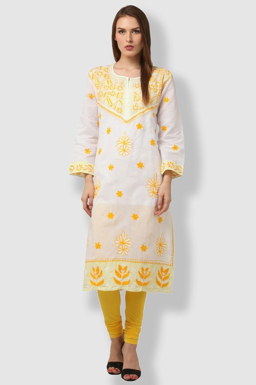 SAADGI Yellow Embroidered Kurti