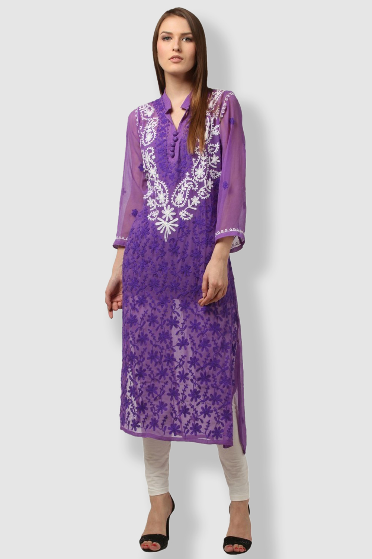 SAADGI Purple Embroidered Kurti