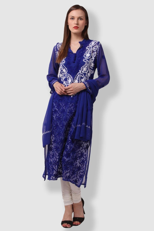 SAADGI Blue Embroidered Kurti