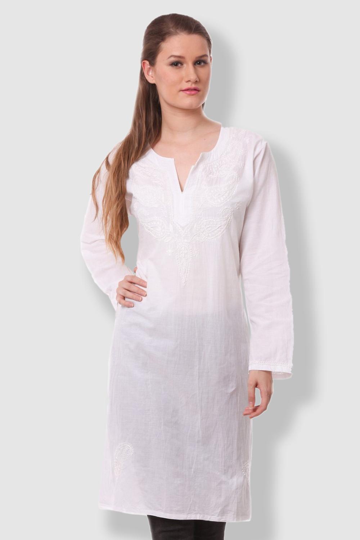 SAADGI Chikankari Pure Cotton White Kurti