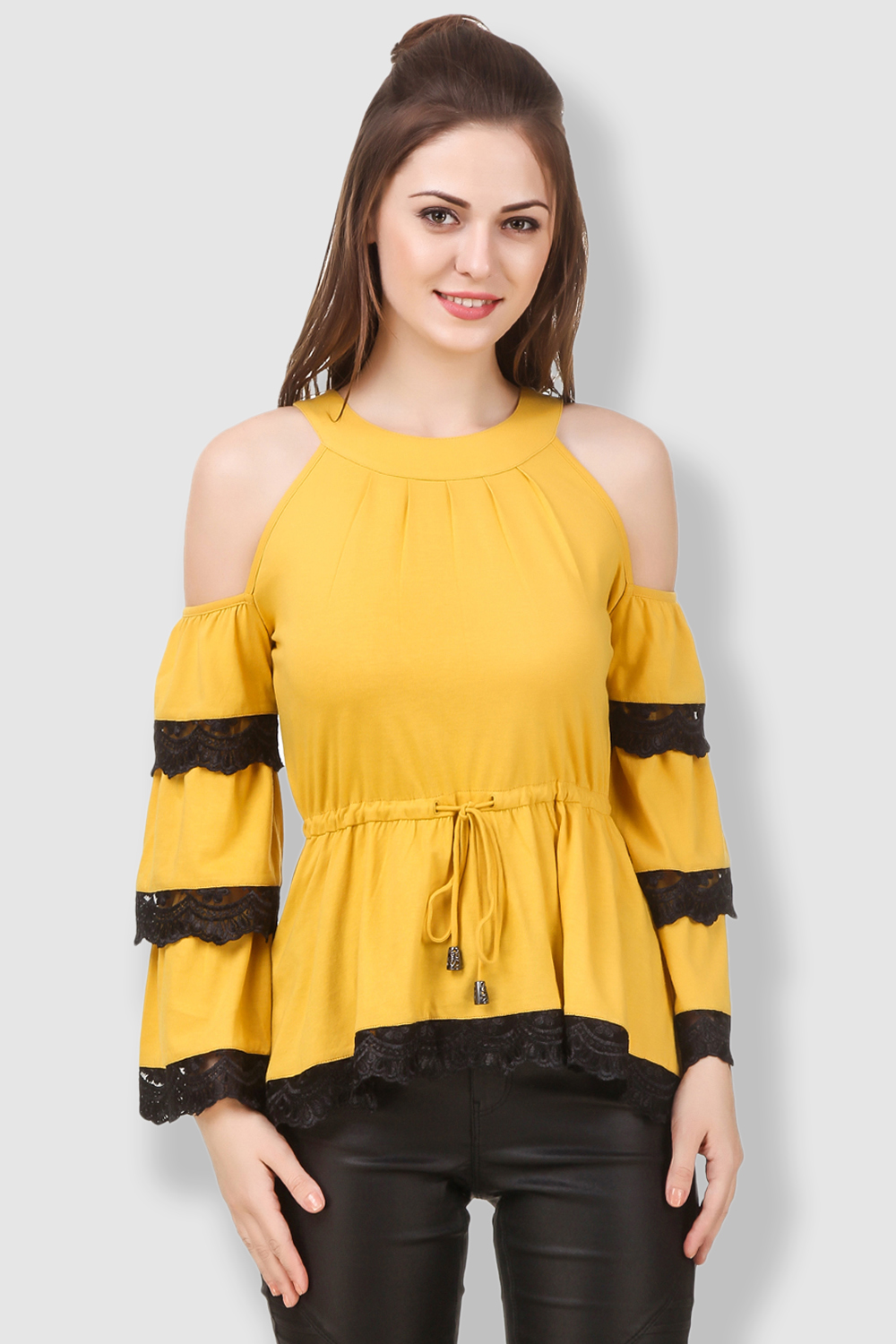 891e7f86948 Texco Women Yellow Cold Shoulder Tiered Solid Inserted Sleeve Boho ...