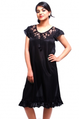 Fasense Black Satin Short Nighty - Buy Fasense Black Satin Short Nighty  Online   Best Price in India  c9b5ffe37
