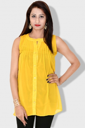 322dfcfff232 INDICOT Yellow Georgette Top - Buy INDICOT Yellow Georgette Top ...