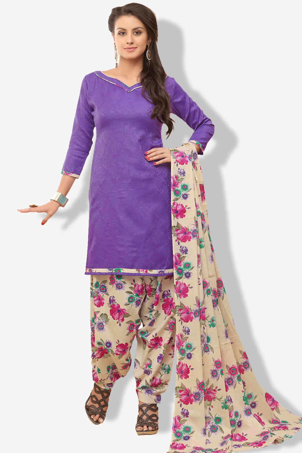 MINU and MANINI Suits Purple Cotton Salwar Suits Sets Dress Material Freesize