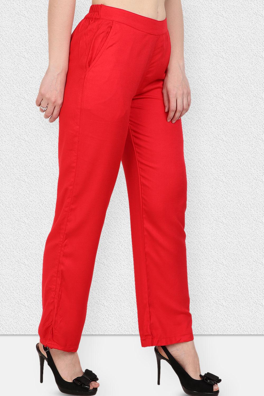 Vipakshi Women Red Solid Long Rayon Palazzo