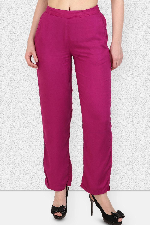 Vipakshi Women Light Purple Solid Long Rayon Palazzo