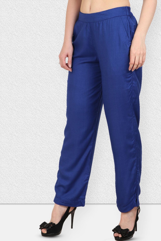 Vipakshi Women Royal Blue Solid Long Rayon Palazzo