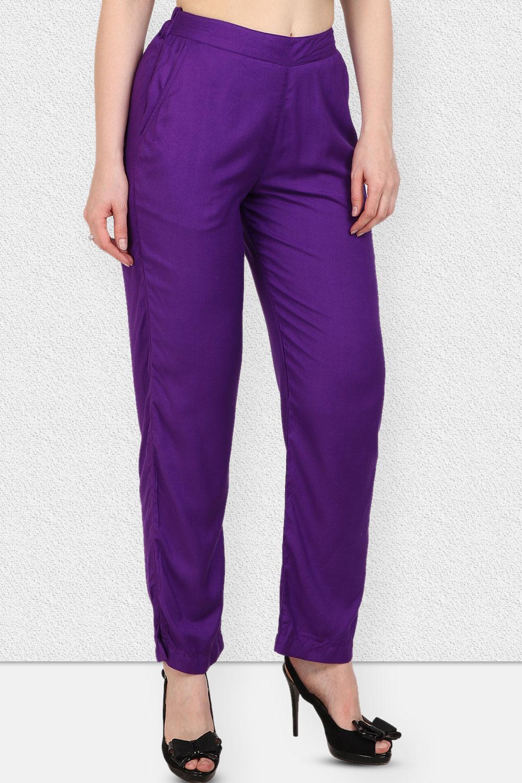 Vipakshi Women Purple Solid Long Rayon Palazzo