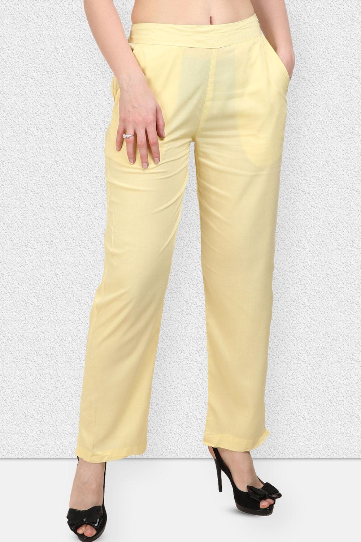Vipakshi Women Yellow Solid Long Rayon Palazzo