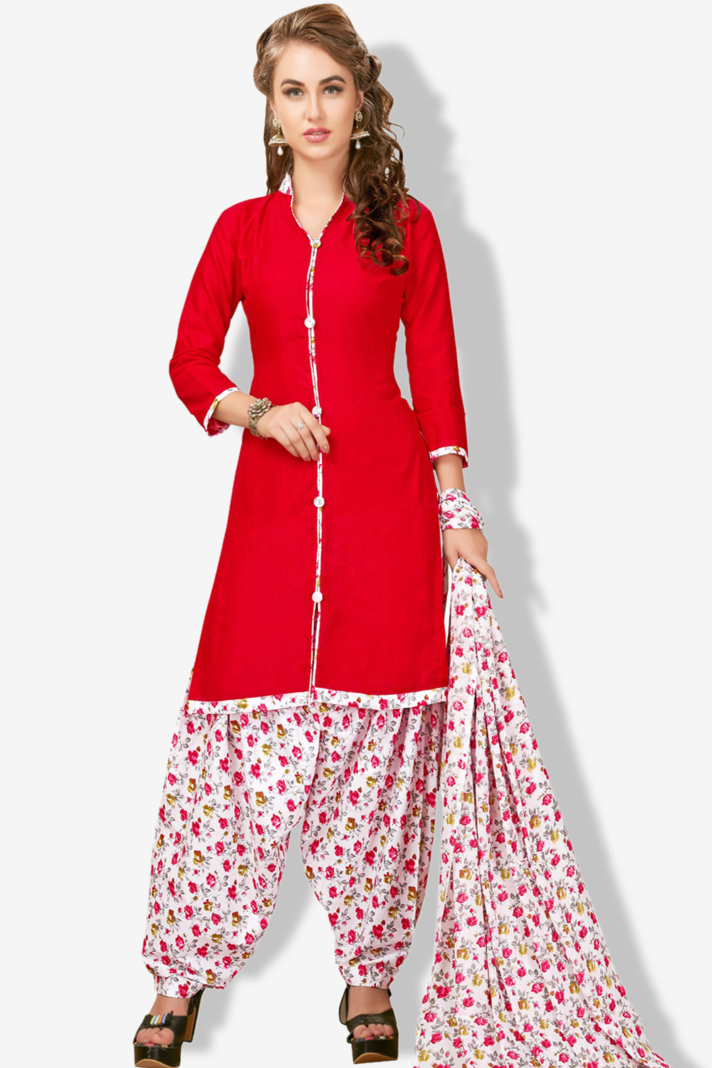 MINU and MANINI Semi stitched Cotton Red Color Printed Ethnic Wear Suit
